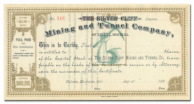 Silver Cliff Mining and Tunnel Company Stock Certificate (1880's)