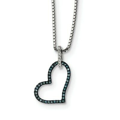 925 Sterling Silver Rhod Plated Blue and White Diamond Heart Pendant Necklace