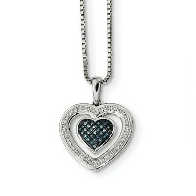 925 Sterling Silver Rhodium Plated Blue & White Diamond Heart Pendant Necklace