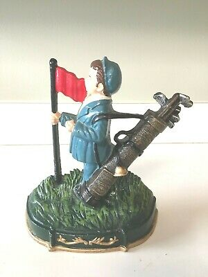 Vintage Golf Caddie with Golf Bag and Flag Cast Iron Door Stop RARE