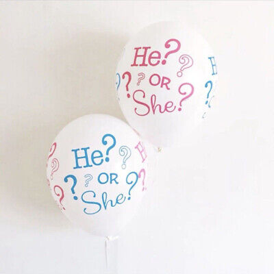 10pcs Portable He or She Gender Reveal Baby Shower Latex Balloons Party Decor