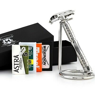 DE Safety Razor + Stainless Steel Stand Twist Open Butterfly Shaver unisex