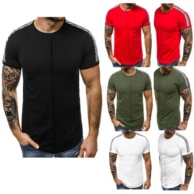 Mens Gym Tight Basic T Shirt Short Sleeve Slim Fit Muscle Casual Fitness Tops