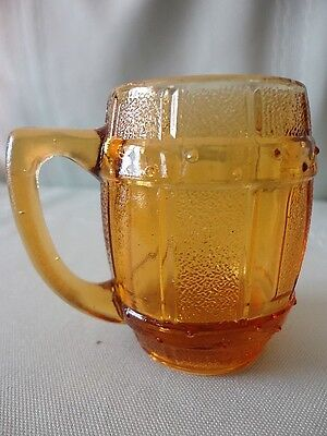 Hazel Atlas Amber GLASS MINI BARREL Keg Mug Shot Jigger Handle Toothpick holder