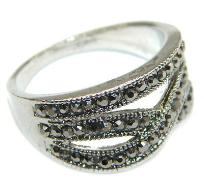 Marcasite Ring  size 8 925 Sterling Solid Silver 6g Handmade Rings by SRStyle