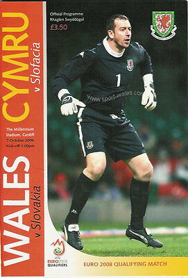 WALES v SLOVAKIA 7 Oct 2006 FOOTBALL PROGRAMME EUROPEAN CHAMPIONSHIP QUALIFIER