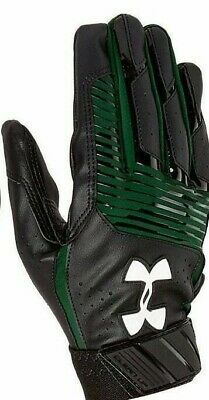 New 2019 Under Armour UA Clean Up Youth Batting Gloves Black/Green Medium