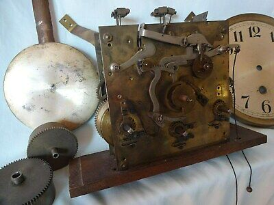 Antique Brass Chiming Wall Clock Movement, Drums,Face,Pendulem,Spares/ Repair.