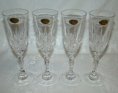 4 European Collection YUGOSLAVIA Crystal Champagne Prosecco Flutes Stems Glasses