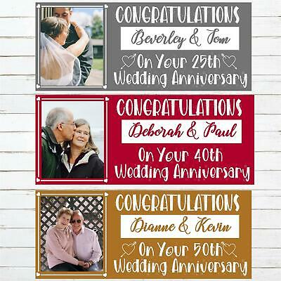 Anniversary Personalised Banner Happy Wedding Ruby Silver Diamond Gold Image