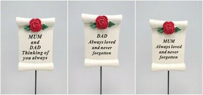 Memorial Red Rose Scroll Sticks Plaques Funeral Cemetery Spike Stake Memory