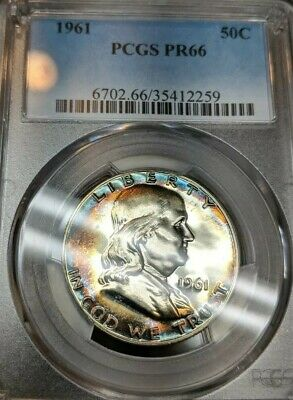 1961 50C Franklin Proof PCGS PR66 Rainbow Toned Beauty