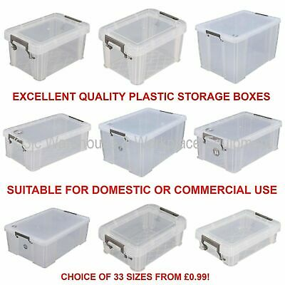 Allstore Commercial Quality Clear Plastic Storage Box Boxes + Lids 33 Sizes