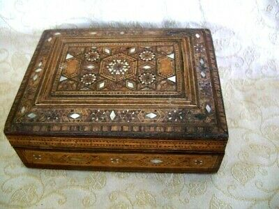 Vintage Damascus Inlaid Mother Of Pearl Wooden Trinket Box