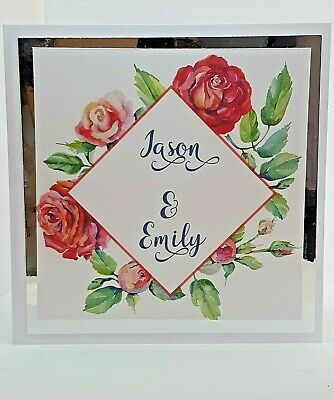 "Floral Wedding Invitation 6"" x 6"" Complete with envelope"