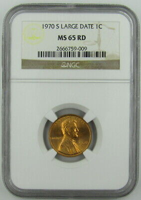 1970-S Large Date Lincoln Cent Ngc Ms65Rd