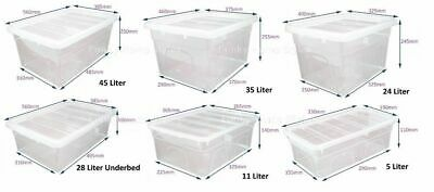 NEW British Made Clear Plastic Storage Box Boxes With Lids VARIOUS 10 SIZES