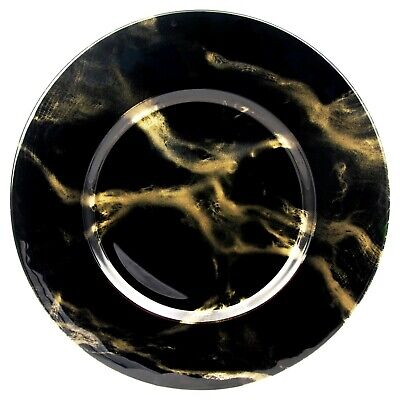 Set/12 THASSOS Black/Gold Mableized Glass Charger Plates
