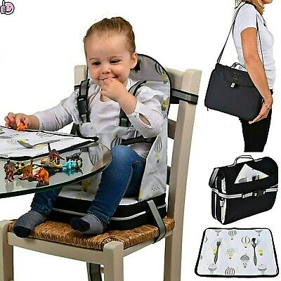 Portable Baby Feeding Booster Seat For Dining Chair Foldable Adjustable Straps