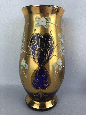 Vintage Egermann Czech Bohemian Cobalt Blue Gold Overlay Applied Enamel Flowers