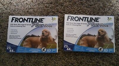 2 Boxes of Frontline PLUS Blue For Dogs 23 - 44 lb, TOTAL!!!!!