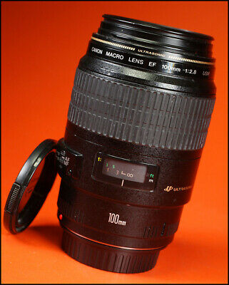 Canon EF 100mm F2.8 USM Telephoto Macro Lens 4 EOS SLRs With Front & Rear Caps
