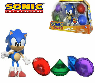 SONIC The Hedgehog Sonic Light Up Chaos Emeralds Collection RARE Figure 65910