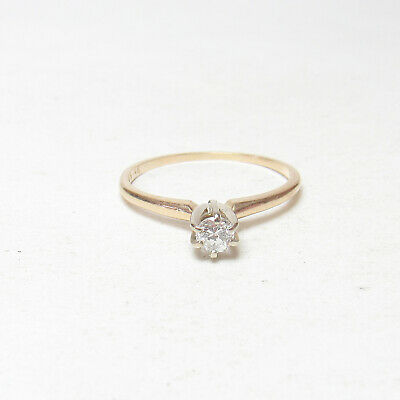 Estate 14K Yellow Gold 0.12 Ct Round Brilliant Cut Diamond Solitaire Ring