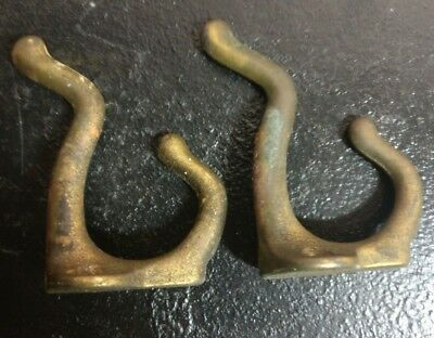 Pair Vtg Nickel Brass Bronze Coat Hat Robe  Hooks 3""