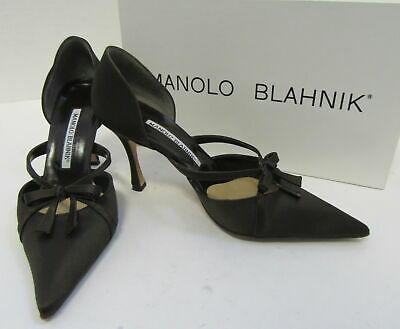 MANOLO BLAHNIK Brown Satin D'Orsay Pumps with Bow Size 35.5