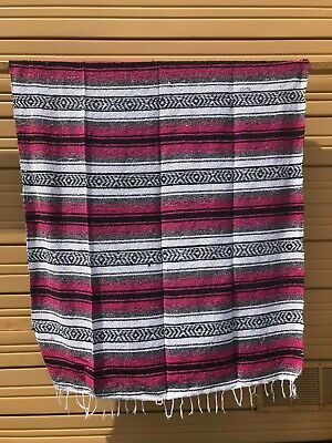 "NEW MEXICAN FALSA BLANKET, THROW STADIUM BLANKET , YOGA 72"" x 52""  HOT PINK"