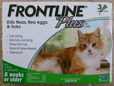 Frontline Plus CATS 3 Months 3 Pack Supply  ALL WEIGHTS Green