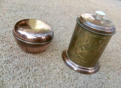 Pair Vintage Copper Tea Caddy,tin Lined,embossed Brass,trinket Box,old,retro