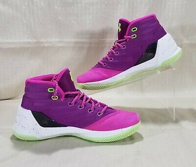 73467dfb1ac2 Under Armour Curry 3 Basketball Shoes Youth SZ 6Y Pink Purple Green 1274061- 878