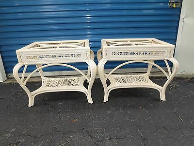 Pair Rattan End Tables Wicker Tropical Regency Bombay ST Bamboo 2 Cottage Side