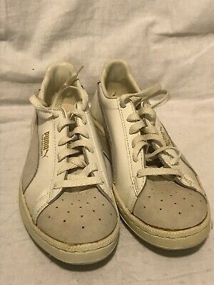 **PUMA SUPERCOURT Vintage Deadstock Trainers Sneakers White/Light Grey UK6**