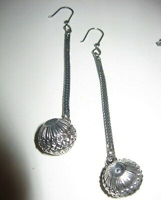 Antique Victorian Watch Fob Earrings Sterling Silver Ornate Foxtail Charms Mourn