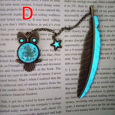 1X Luminous Night Owl Bookmark Labels Read Maker Feather Book Mark Stationery US