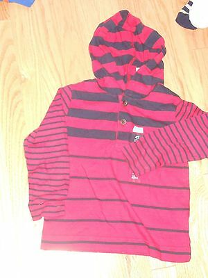 NWT - Childrens Place long sleeved red & navy blue striped hoodie - 12-18 mos