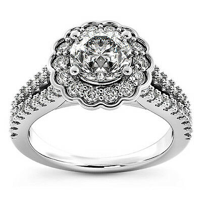 2.50 Ct Round Cut D/si1 Diamond Solitaire Engagement Ring 14K White Gold