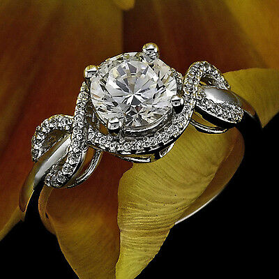1 Ct Round Cut D/si1 Diamond Solitaire Engagement Ring 14K White Gold