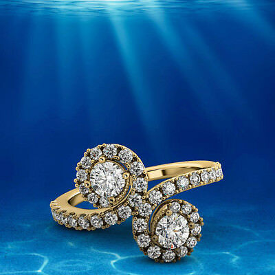 Solitaire 0.90 Carat VS2/D Round Diamond Halo Engagement Ring Yellow Gold