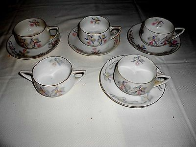 Vintage Fine Bohemian Orchard Flower China Cups and Saucers Czechoslovakia
