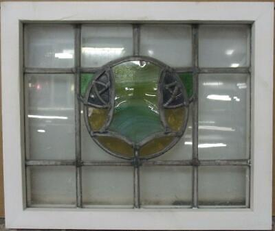 "OLD ENGLISH LEADED STAINED GLASS WINDOW Gorgeous Abstract Design 19.75"" x 16.5"""