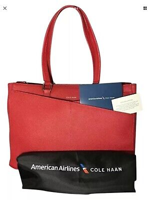 32f081ab543 NEW Cole Haan for American Airlines Large Red Saffiano Leather Travel Tote  NIB