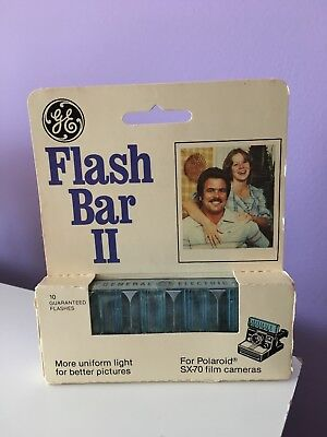 NEW GE Flash Bar II 10 Flashes for Polaroid SX-70 Film Camera NOS Factory Sealed