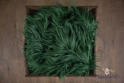 Long Pile Faux Fur Photo Prop, Forest Green Soft Baby Photography Basket Stuffer