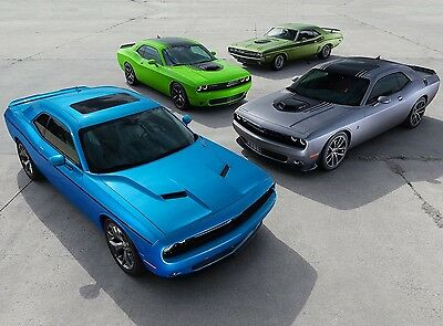 """DODGE CHALLENGER LINEUP SPORTS MUSCLE CAR ART POSTER PRINT – 18"""" x 24"""" Giclee"""