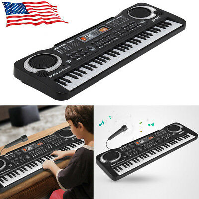 US 61 Keys Digital Electronic Music Keyboard & Microphone Electric Piano EW5