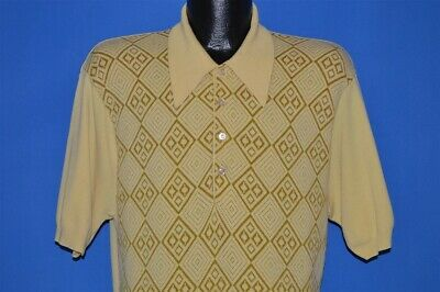 vintage 70s YELLOW DIAMOND PRINT GEOMETRIC SHORT SLEEVE POLO SHIRT LARGE L